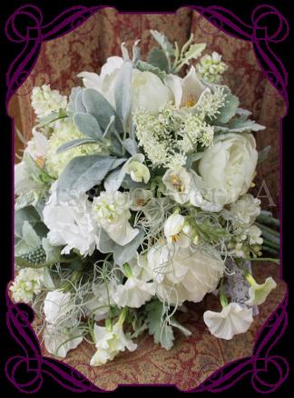 image of artificial flower garden pick white textured bridal bouquet