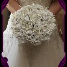 image of unique and original off white button flower bouquet