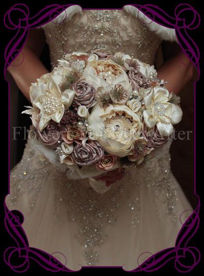 image of handmade fabric flowers peony vintage pearl bouquet