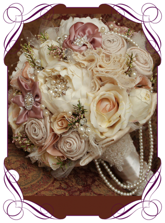 image of silk vintage pearl peony fabric bouquet