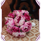 Silk pink peony bouquet, fake bridal flowers