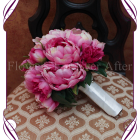 Silk fuschia peony bouquet, fake bridal flowers