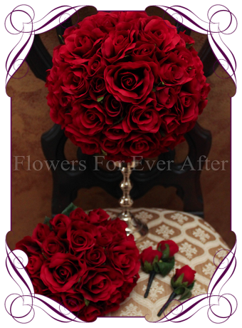 silk red rose elegant bridal package