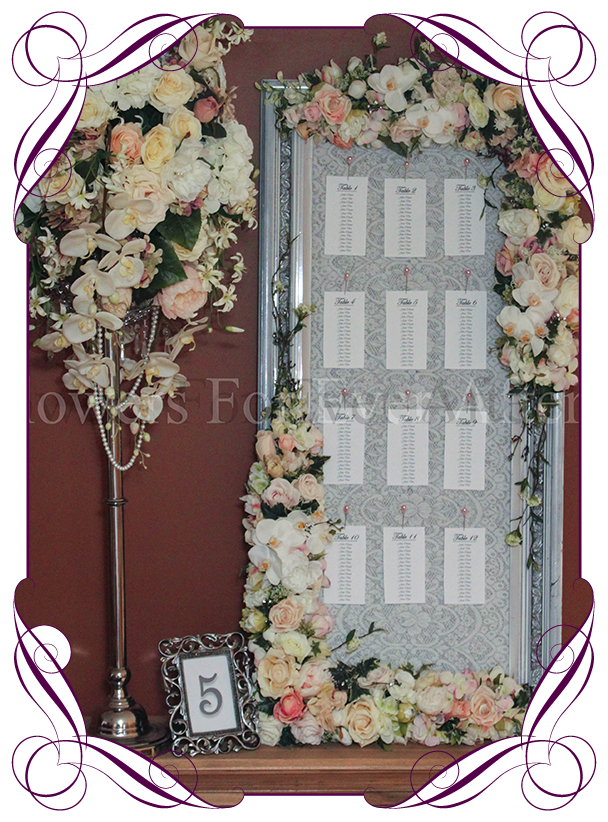 unique silk flower table arrangement hire frame