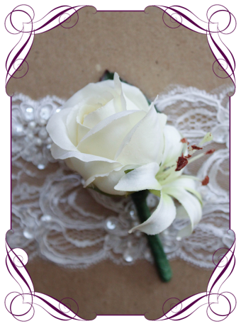 white silk rose boutonierre