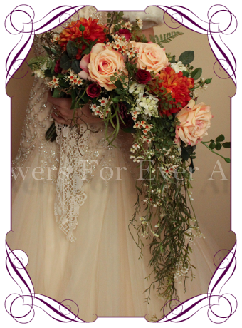 Silk vintage inspired sheath wedding bouquet, artificial dahlia rose and foliage bouquet melbourne