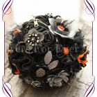 Silk wedding flowers, silk bridal bouquet, silk flowers Melbourne, unusual wedding bouquets, leather and metal brooch bouquet, motorcycle theme wedding bouquet
