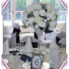 White elegant floral wedding table decoration for hire to Melbourne and surrounds