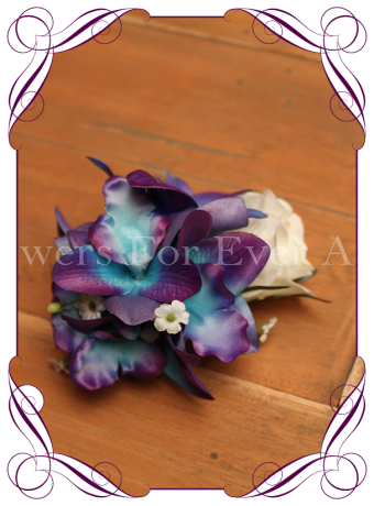 silk galaxy orchid and white rose hairpiece