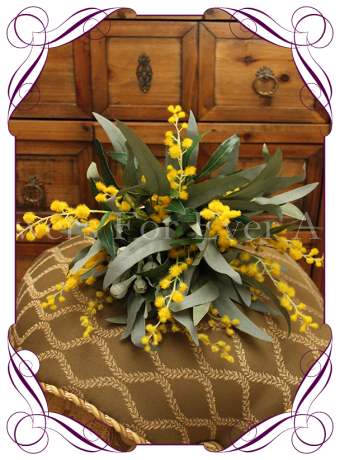 silk wattle australian native bush wedding bouquet, silk wedding flowers melbourne