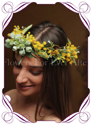 Silk Artificial wattle Flower crown halo