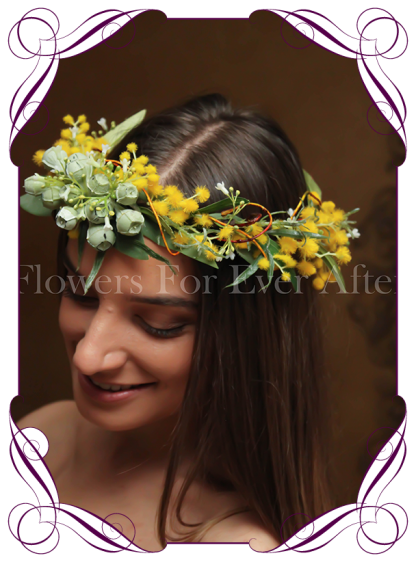 Silk Artificial wattle Flower crown halo