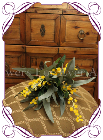 silk wattle and australian native flower bridesmaid posy bouquet, australian native bridal bouquet rustic weddings bush wedding
