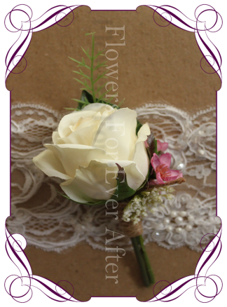 ivory silk rose groom groomsmen boutonierre button rustic wedding bridal flowers
