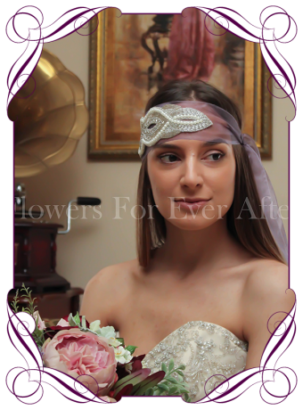 Bridal hair sash. An unusual hair accessory for the bride in a very Gatsby theme. With mauve tinted organza and a stunning pearl and crystal beaded design.