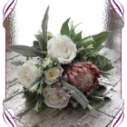 Dusty pink artificial protea and ivory white silk rose posy . A perfect artificial rustic wedding bouquet