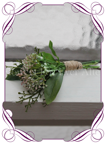 Grooms / mens wedding flower button, in a boho theme with berries and foliage. Twine on stem for a rustic look