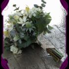Ivory Australian native and garden flower mix silk wedding bouquet. High quality artificial wedding flowers in a rustic garden look.