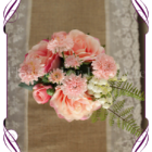 Coral Pink silk flower artificial wedding table decoration. Perfect for jars and small vases in a rustic theme.