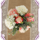 Coral Pink and ivory white silk flower artificial wedding table decoration. Perfect for jars and small vases in a rustic theme.