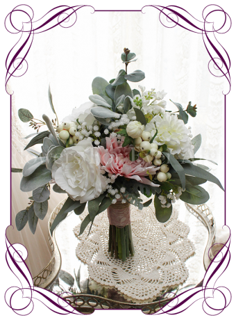 Rustic pink and white silk artificial wedding bouquet. With babies breath, hydrangeam peonies, dahlia and Australian native foliage