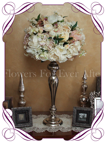Vintage pastel flower dome table centerpiece for hire in Melbourne and surrounds. Silk flower wedding table decoration in an elegant vintage style.