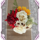 Red and Yellow sunflowers, Australian native silk flower artificial wedding table decoration. Perfect for jars and small vases in a rustic theme.