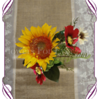 Red and Yellow sunflowers silk flower artificial wedding table decoration. Perfect for jars and small vases in a rustic theme.
