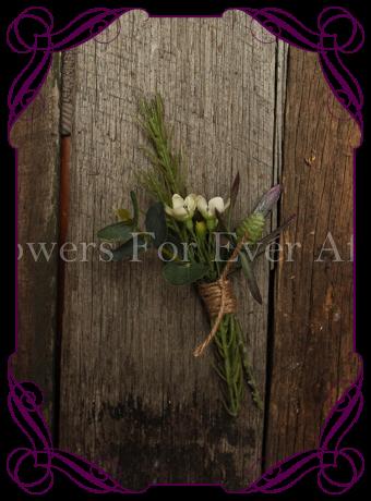 Rustic artificial Australian natives gents button / flower pin
