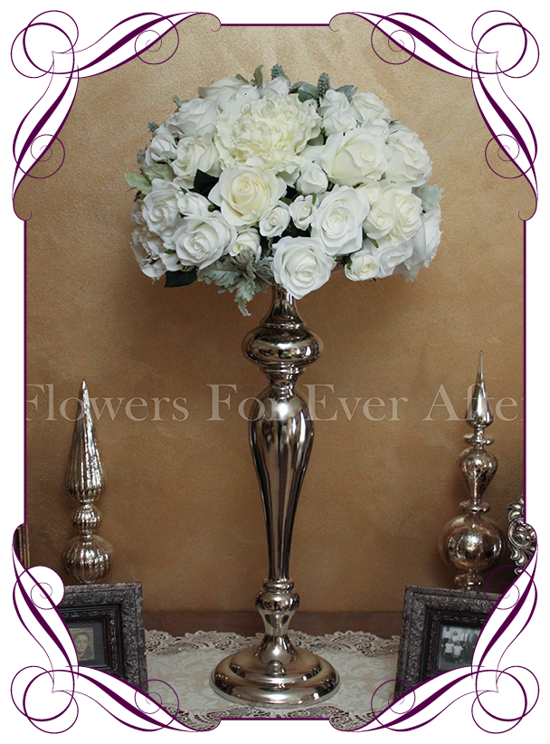 Hire vintage silver table number frames flowers for ever after hire white dome on silver stand junglespirit Image collections