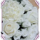 White / ivory flower dome table centerpiece for hire in Melbourne and surrounds. Silk flower wedding table decoration in an elegant bridal style.