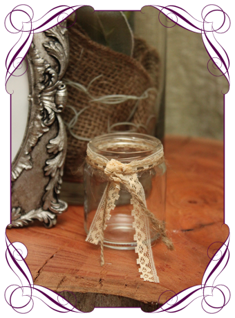 Rustic tealight votive for hire in Melbourne and surrounds. Silk flower wedding table decoration in an elegant rustic style.