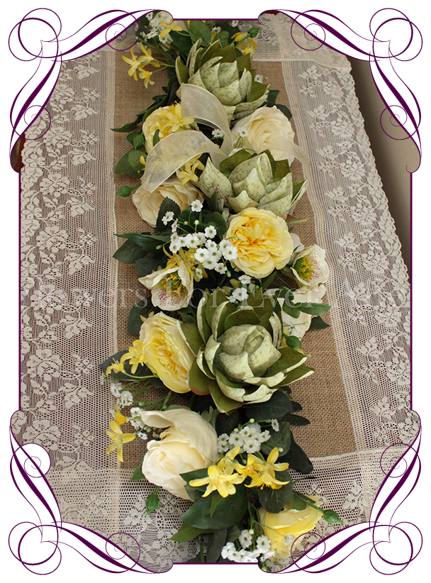 Yellow Green Wedding Table Arbor Arch Decoration Flowers For