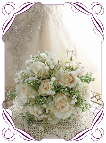 Champagne and cream rose and baby's breath silk artificial wedding bouquet. Bridesmaids bouquet