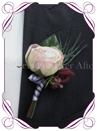 Gents / Grooms wedding flower button in silk flowers
