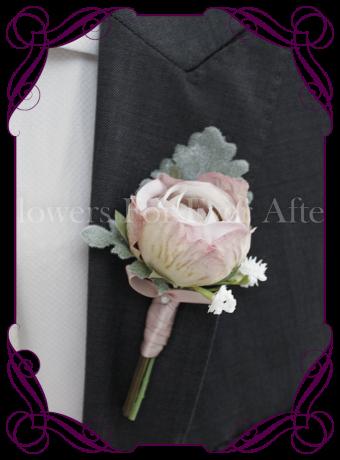 Gents silk artificial wedding flower / button