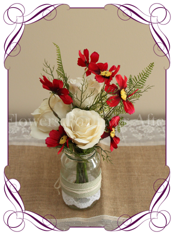 Red silk flower artificial wedding table decoration. Perfect for jars and small vases in a rustic theme.