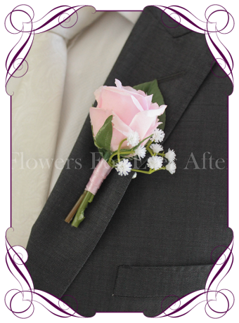 Silk artificial gents wedding flower button with a pink rose and baby's breath.