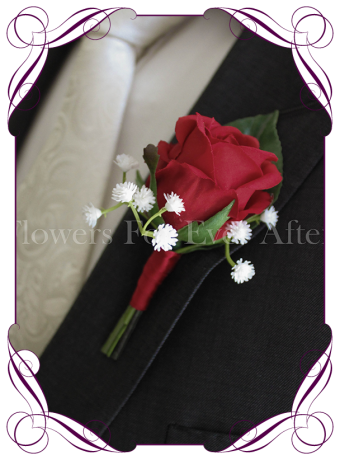 Silk artificial gents wedding flower button with a red rose and baby's breath.