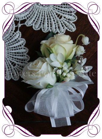 White and ivory cream silk artificial ladies pin corsage, wedding corsage, formal corsage.