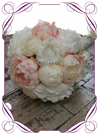 Blush silk artificial peony bridesmaid posy, made in melbourne, custom orders available