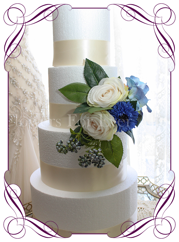 Marnie cake decoration flowers for ever after artificial wedding rustic wedding cake decoration in silk artificial flowers with blue cornflower hydrangea and ivory junglespirit Gallery