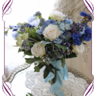 Blue and ivory rustic silk artificial wedding bridal bouquet. A posy of wild flowers and classic elegant blooms in a rustic style. Made in Melbourne Australia. World wide shipping