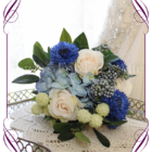 Blue and ivory rustic silk artificial wedding bridesmaids bouquet. A posy of wild flowers and classic elegant blooms in a rustic style. Made in Melbourne Australia. World wide shipping
