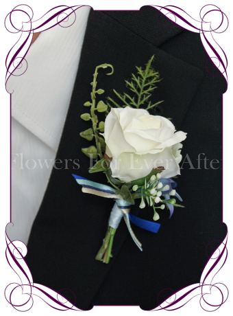 Gents / mens wedding flower button / boutonniere in ivory and blue, inspired by the paua shell.