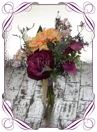 Rustic silk artificial flower bridal bouquet with dahlia, roses, calla lilies in pink, apricot and purple. Bridesmaids posy, bridesmaid bouquet