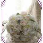 Ivory and blush silk artificial roses in a class romantic bridal bouquet design. An elegant posy in a simple clean style with added pearls. Made in Melbourne. Custom order. World wide shipping.