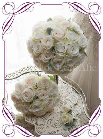 Ivory and blush silk artificial roses in a class romantic bridal bouquet design / package / set. An elegant posy in a simple clean style. Made in Melbourne. Custom order. World wide shipping.