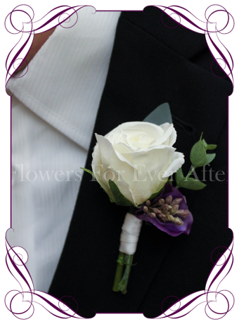 Gents / mens wedding flower button / boutonniere in ivory white and lilac, purple with gum foliage.