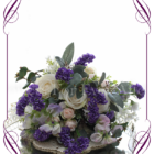 A garden rustic silk flower bridal bouquet in purple, ivory, lilac, and blush pink. Made in Melbourne. Shipping world wide